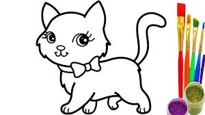 coloring page of a kitty cats coloring page how to draw cat pages youtube videos for kids
