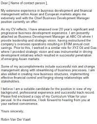 business developer cover letter