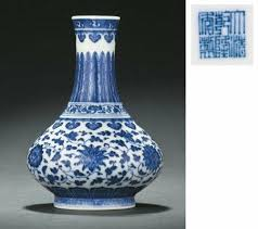 Blue And White Vase A Rare Yellow And Green Enameled Blue And White U0027lotus U0027 Vase