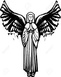 with wings praying in a woodcut style image royalty free
