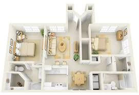 Small Open Floor Plan Kitchen Living Room Apartments 2 Bedroom Apartment 3d With Outdoor Dining Set And