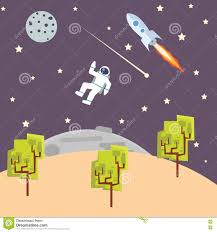outer space illustration kids style with spaceman rocket ship