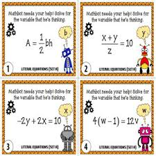 literal equations task cards by chilimath teachers pay teachers