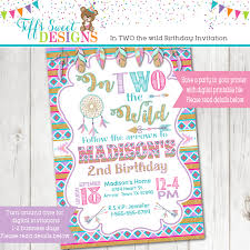 in two the wild birthday party invitation boho dream catcher