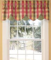 Plaid Kitchen Curtains Valances by Window Toppers Moire Plaid Scalloped Valance Country Curtains