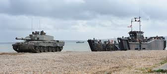 amphibious tank file challenger 2 tank disembarks from landing craft during