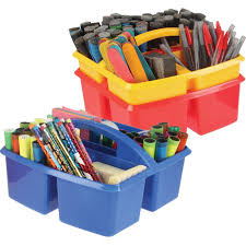 Plastic Desk Organizer Three Compartment Plastic Classroom Caddies Primary Colors