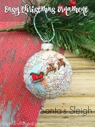 easy decoupage santa s sleigh map ornament decoupage ornament