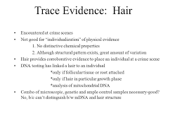 pattern physical evidence trace evidence hair encountered at crime scenes not good for