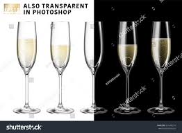 champagne transparent realistic vector illustration set transparent champagne stock