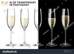 champagne transparent realistic vector illustration set transparent champagne stock