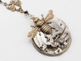 swarovski crystal flower necklace images Steampunk gold bumble bee necklace featuring a silver pocket watch jpg