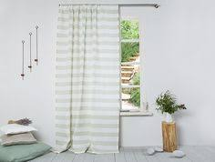 Striped Linen Curtains Linen Curtain Striped Linen Curtain In Sky Blue Color Linen Panel