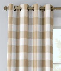 Beige Linen Curtains Linen Check Grommet Top Curtains Country Curtains