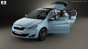 360 view of peugeot 308 hatchback with hq interior 2014 3d model