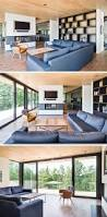 Contemporary Livingroom Wood And Stone Cover The Exterior Of This Multi Level Modern House