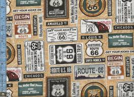 Route 66 California Map by 66 Street Signs On Tan Map Background