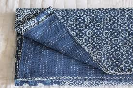 Blue Quilted Coverlet Christmas Gifts Indigo Queen Size Kantha Quilt Indian Quilt