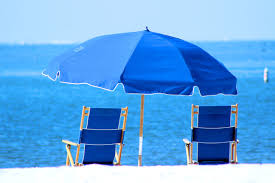 Beach Shade Umbrella Blue Patio Umbrella And Two Beach Seat Free Image Peakpx