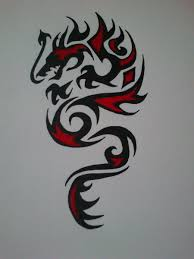 awesome tribal dragon having horns tattoo design by demonking aka grim
