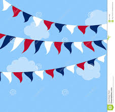 Flags Us Flags Usa Set Bunting Red White Blue For Celebration Stock Vector