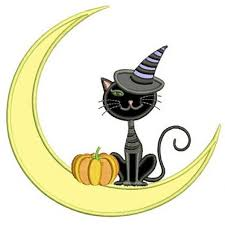 cat on the moon applique machine embroidery digitized