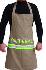 Custom Aprons For Men Amazon Com Personalized Firefighter Cooking Apron Tan With