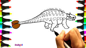how to draw ankylosaurus and paint ankylosaurus dinosaur coloring