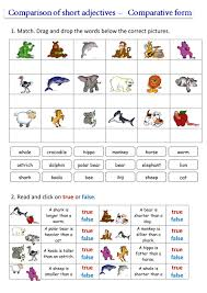 Adjectives That Compare Worksheets Comparison Of Short Adjectives Interactive Worksheet