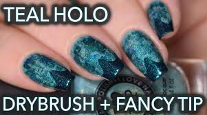 teal holo drybrush nail art with fancy chevron tip easy nail art