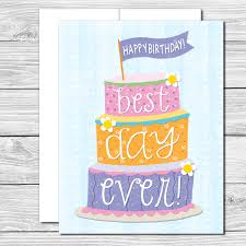 best day ever hand drawn birthday card tickled pink paper ink