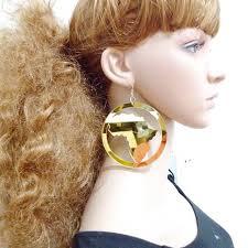 black girl earrings exaggerate big jazz girl mirror acrylic earrings fashionable
