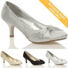 Wedding Shoes Mid Heel Mid Heel 1 5 3 In Satin Bridal Or Wedding Shoes For Women Ebay