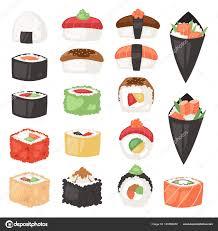 jeu de cuisine sushi de cuisine japonaise vecteur sushi sashimi ou nigiri et apéritif