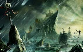 pirate sail wallpapers fantasy pirate bay boat sailing rock fort building