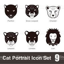 jaguar icon black big cat breed face cartoon flat icon series stock vector art