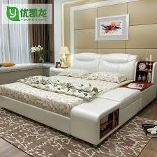 Storage Bedroom Furniture Sets Modern Leather Queen Size Storage Bed Frame With Side Cabinet