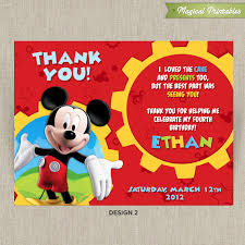 mickey mouse thank you cards mickey mouse clubhouse printable birthday thank you cards choose