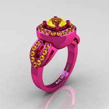 pink gold engagement rings classic 14k fuchsia pink gold 1 0 ct yellow sapphire