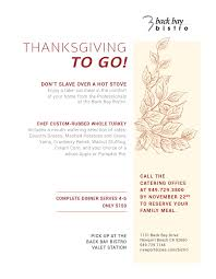 thanksgiving meal to go back bay bistro waterfront dining menu newport dunes