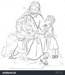 jesus with children coloring page wallpaper download