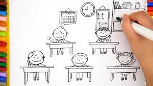 how to draw classroom for kids learn colors and coloring pages