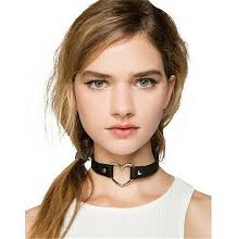 love heart choker necklace images Vintage collar punk goth emo heart leather choker necklace womens jpg