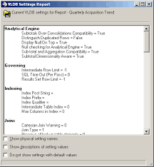 a sample report creating a vldb settings report