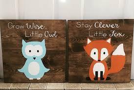 Woodland Animals Nursery Decor 14x14 Set Of 2 Woodland Animal Nursery Signs Nursery