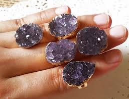 natural amethyst rings images R025 natural stone druzy geode crystal ring adjustable min size jpg