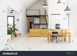 open kitchen to dining room spacious open kitchen dining room modern stock photo 644924518