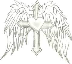 drawn angel cross pencil and in color drawn angel cross