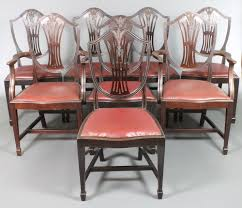 a set of 8 edwardian hepplewhite style shield back dining chairs