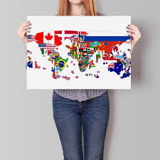 World Map Country Flags Free Ship World Map Paper Painting Flag Country Map Modern Poster